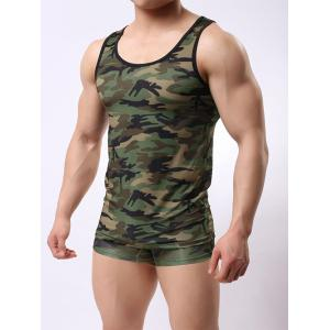 Muscle Camo Tank Top and Boxer Briefs - Acu Camouflage - M