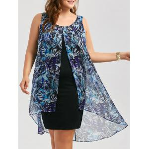 Chiffon Insert Layered Plus Size High Low Sleeveless Dress - Blue - Xl