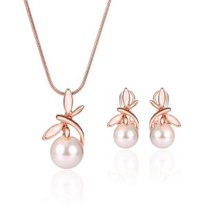 Faux Pearl Dragonfly Pendant Necklace with Earrings