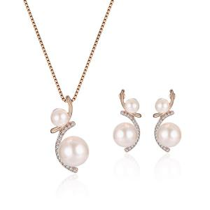 Rhinestone Faux Pearl Pendant Necklace with Earrings