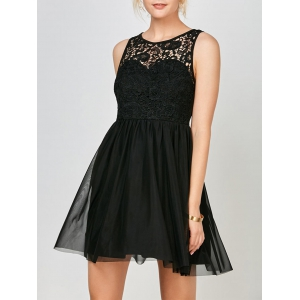 Voile Lace Mini Cocktail Short Skater Dress - Black - M