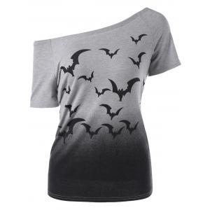Bat Animal Pattern Ombre Skew Neck T-Shirt