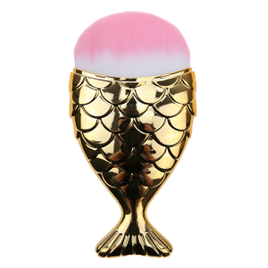 Portable Mermaid Shape Facial Makeup Brush - Gold And Pink