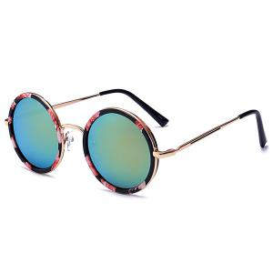 Retro Mirror Round Reflective Metal Frame Sunglasses - Pink + Green - One Size