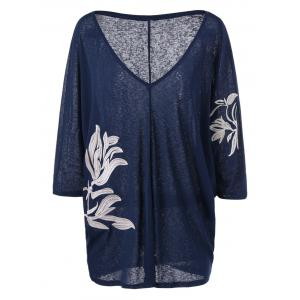 Heather Plus Size Embroidery Long V Neck T-Shirt