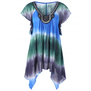 Embellished Asymmetrical Tie Dye Plus Size Blouse - Colormix - 2xl