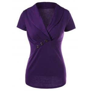 Button Ruched Design Shawl Collar T-Shirt
