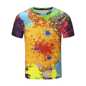 Short Sleeve Color Block Splatter Paint Print T-Shirt