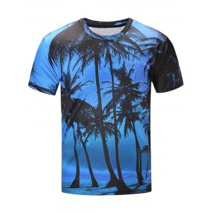Short Sleeve 3D Coconut Tree Print Hawaiian T-Shirt