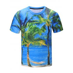 Short Sleeve 3D Coconut Tree Landscape Print T-Shirt