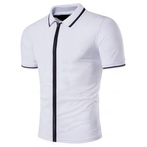 Zip Up Stripe Rib Panel Short Sleeve Polo T-Shirt