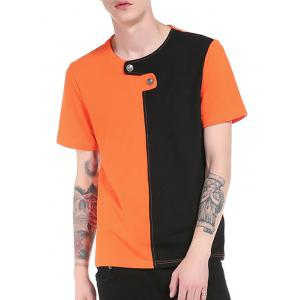 Color Block Panel Button Embellished T-Shirt - ORANGE L