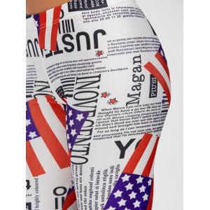 Mid Waist Graphic American Flag Leggings - COLORMIX ONE SIZE