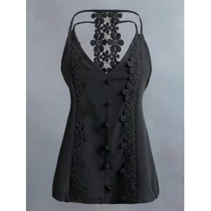 Lace Panel Cutout Trim Cami Top - Black - L