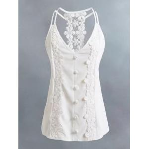 Lace Panel Cutout Trim Cami Top