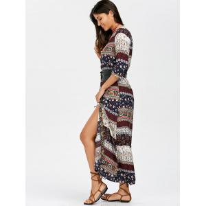 Boho Aztec Print High Slit Maxi Dress - MULTI M