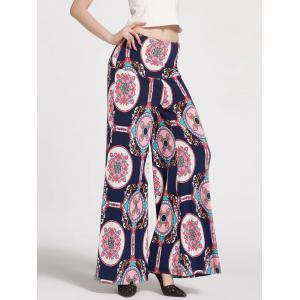 High Waist Floral Printed Palazzo Pants - Deep Blue - S
