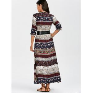 Boho Aztec Print High Slit Maxi Dress - MULTI 2XL