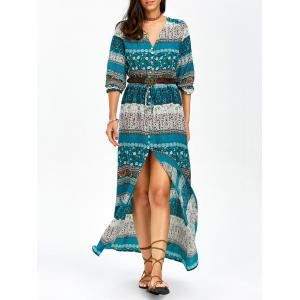 Bohemian Aztec Print Ankle Length Maxi Swing Dress - Lake Blue - 2xl