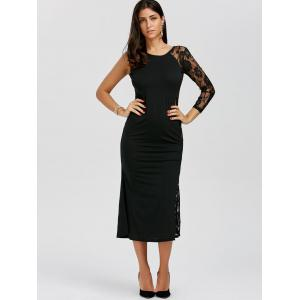 One Sleeve Floral Lace Panel Dress - BLACK XL