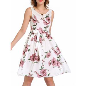 Knee Length Floral Flare Swing Dress - Floral - Xl