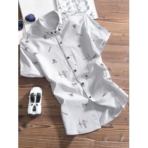 Short Sleeve Button Down Graphic Pattern Shirt