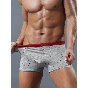 Contrast Waistband Allover Printed Boxer Briefs - Gray - L