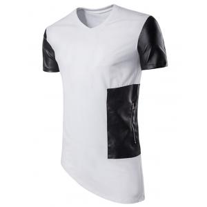 PU Leather Panel Asymmetric Longline T-Shirt