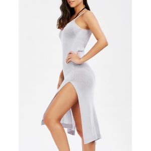 Backless Slip Knit Cover Up Dress for Beach - Frost - One Size