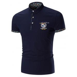 Floral Trim Embroidered Polo Shirt