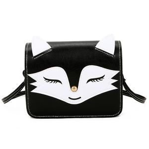 PU Leather Fox Pattern Crossbody Bag - Black - 2xl