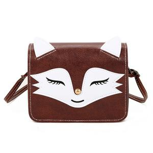 PU Leather Fox Pattern Crossbody Bag - Coffee - 38