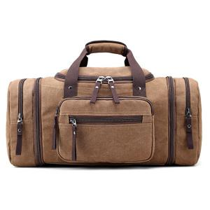Canvas Multi Zips Weekender Bag - Brown