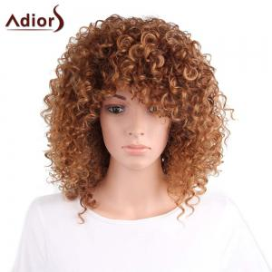 Adiors Shaggy Long Side Part Afro Curly Synthetic Wig - Light Brown - 14inch