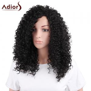 Adiors Towheaded Long Side Bang Afro Curly Synthetic Wig - Black