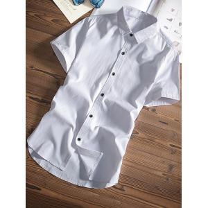Classic Short Sleeves Button Up Shirt - White - 2xl