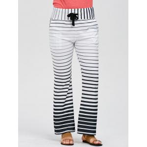 Striped Wide Leg Yoga Pants - WHITE S
