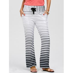 Striped Wide Leg Yoga Pants - WHITE L