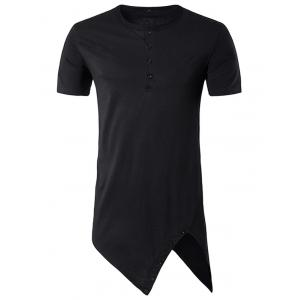 Asymmetrical Cutting and Button Design Longline T-Shirt