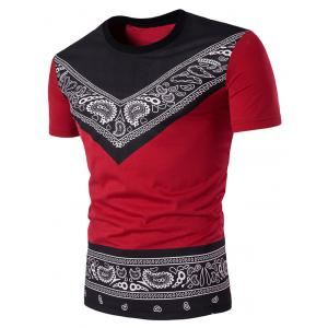 Short Sleeve Color Block Tribal Paisley Print T-Shirt - Red - S