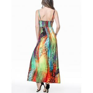 Feather Print Empire Waist Slip Maxi Beach Dress -