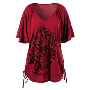 Floral Print Side Drawstring Plus Size V Neck T-Shirt - Red - 4xl
