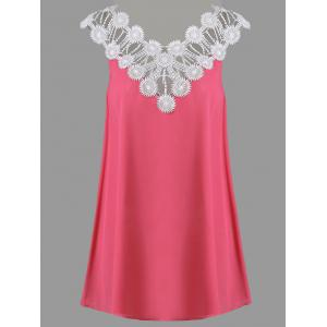 Plus Size Cutwork Crochet Trim Tank Top