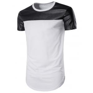 Curve Bottom PU Leather Panel Longline T-Shirt