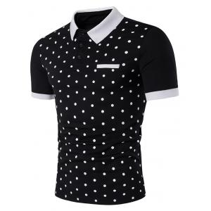 Polka Dot Print Edging Short Sleeve Polo T-Shirt