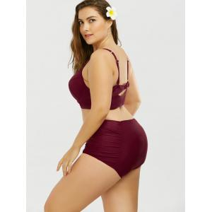 Halter High Rise Plus Size Push Up Bustier Bikini Set - WINE RED 3XL