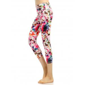 Colorful Pattern High Waist Cropped Gym Leggings - Pink - Xl