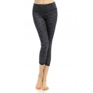 Pattern High Waist Yoga Cropped Leggings - Black - L