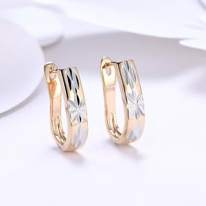 Alloy Embellished Horseshoe Hoop Earrings - Golden - One-size