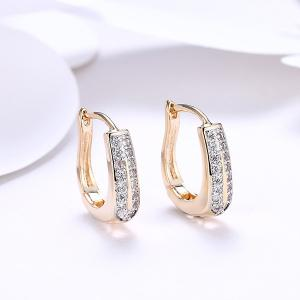 Rhinestone Alloy Horseshoe Hoop Earrings - Golden